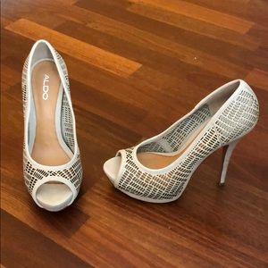 Aldo light tan/blush platform heels
